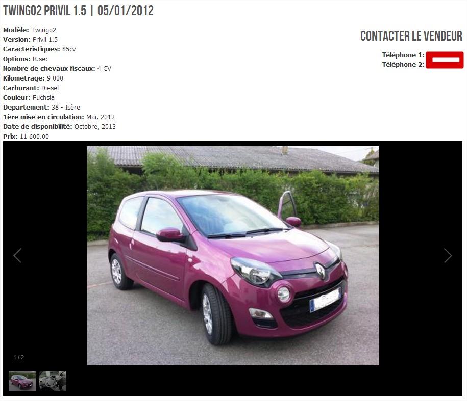 Page intérieure du site de l'Amicale Renault